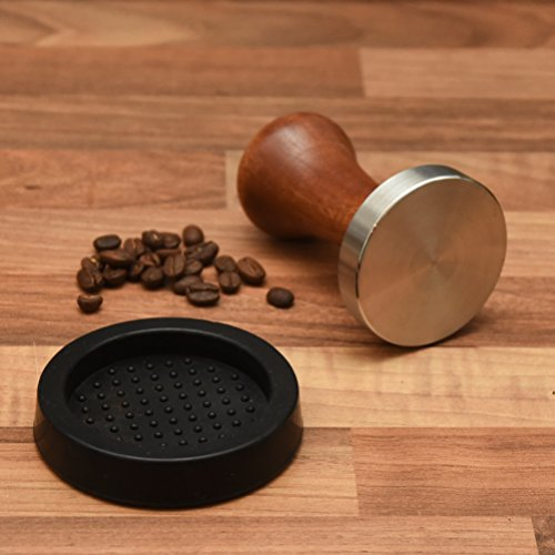 home dept espresso tamper 58mm edelstahl flat base holz griff barista zubeh r. Black Bedroom Furniture Sets. Home Design Ideas